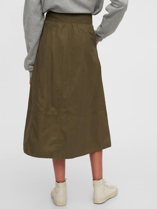 Kadın Yeşil High Rise Khaki Midi Etek