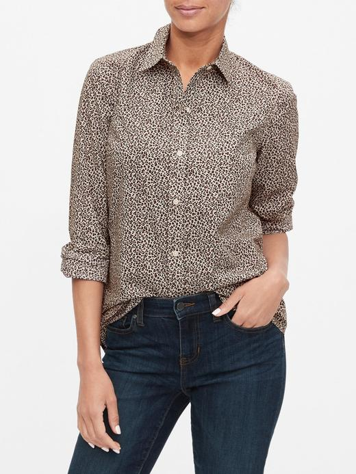 Kadın Bej Desenli Poplin Gömlek