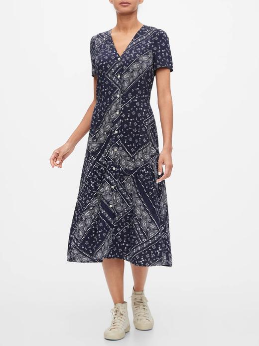 Kadın lacivert Düğmeli Midi Elbise