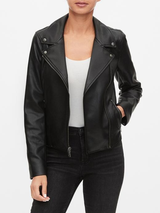Kadın Siyah Suni Deri Moto Ceket