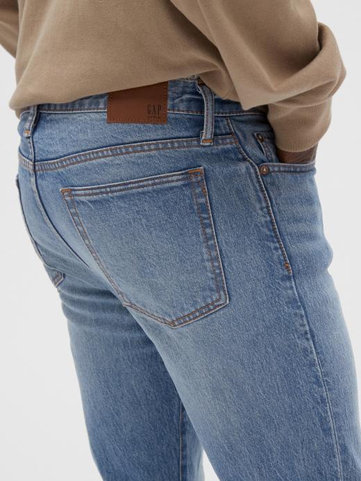 Erkek Mavi Slim Taper Straight Leg Jean Pantolon