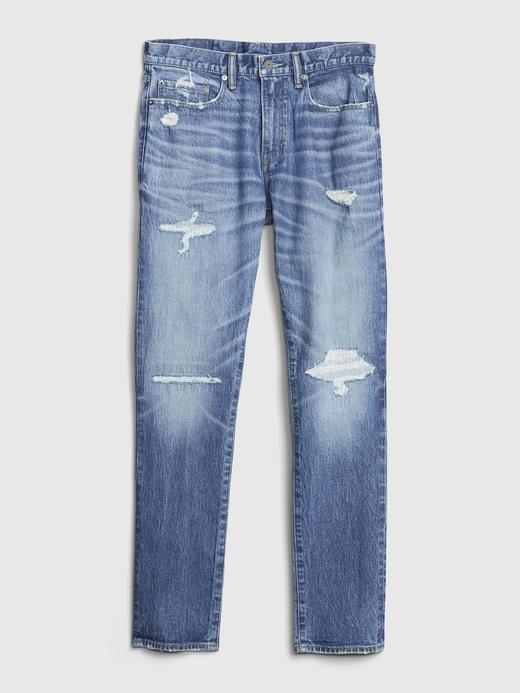 Erkek mavi GapFlex Destructed Slim Jean Pantolon