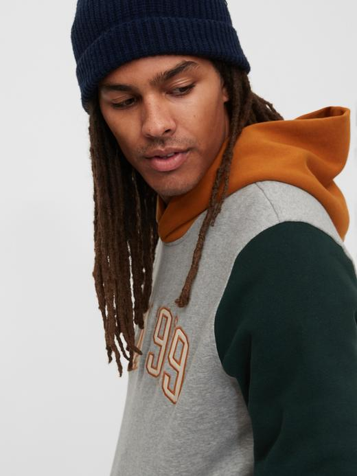 Erkek Gri Gap Logo Pullover Kapüşonlu Sweatshirt