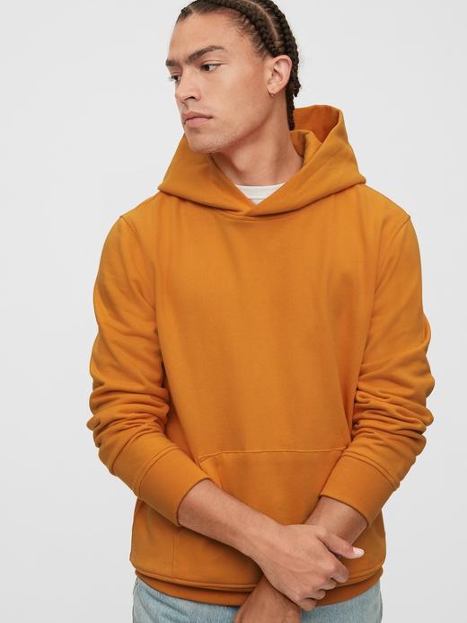 Erkek Turuncu Vintage Soft Pullover Kapüşonlu Sweatshirt