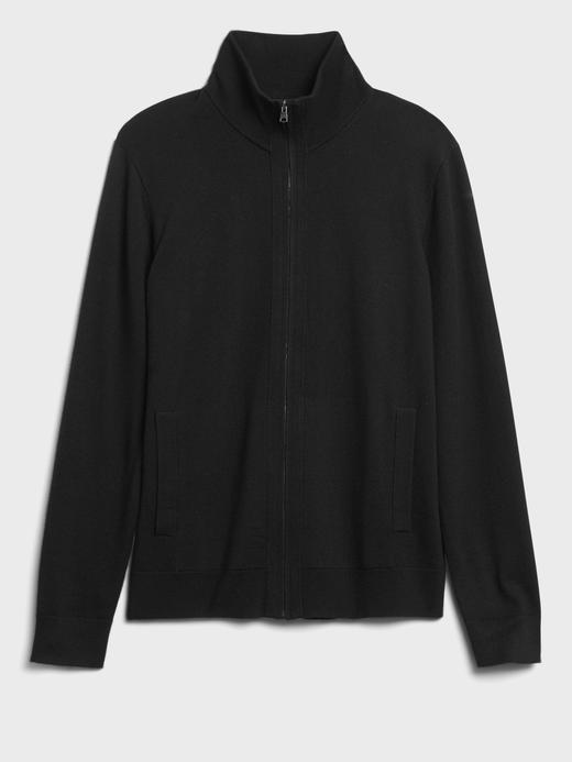 Erkek Siyah Merino Triko Ceket