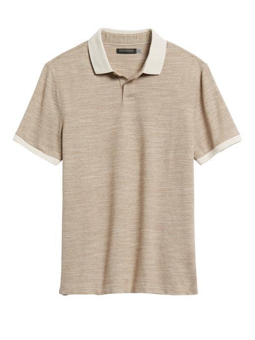 Erkek Bej Slim Luxury-Touch Polo Yaka T-Shirt