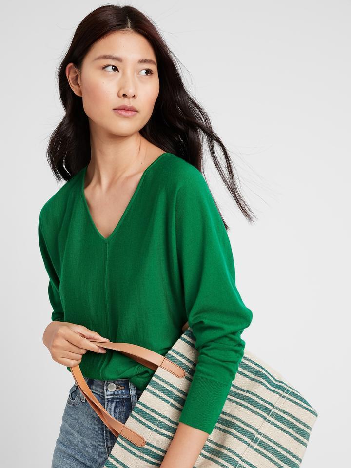 Kadın Yeşil Yıkanabilir Merino Kazak