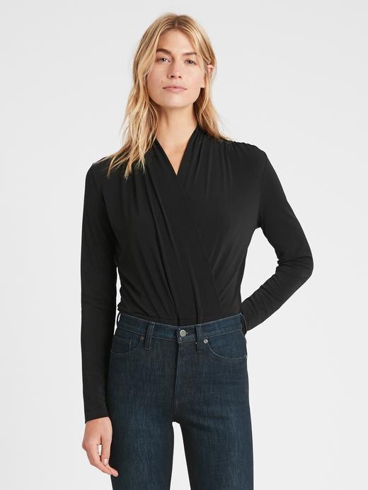 Kadın Siyah Kruvaze Body Bluz