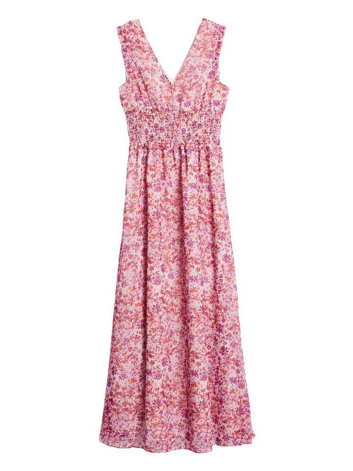 Kadın Pembe Desenli Maxi Elbise