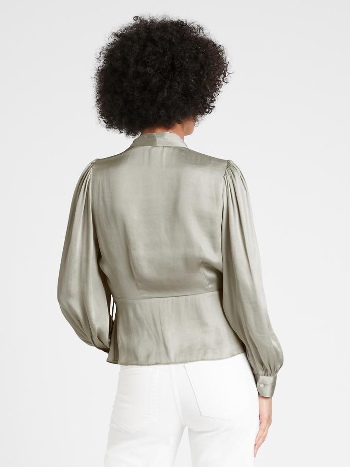 Kadın Siyah Saten Kruvaze Bluz