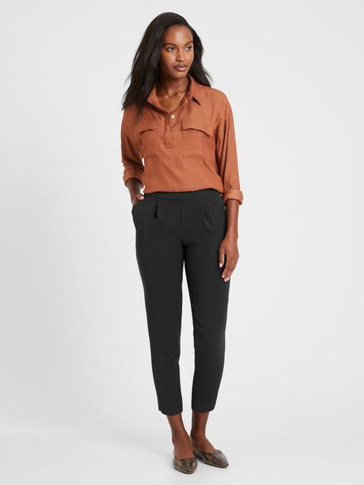 Kadın Siyah High-Rise Tapered Pull-On Pantolon