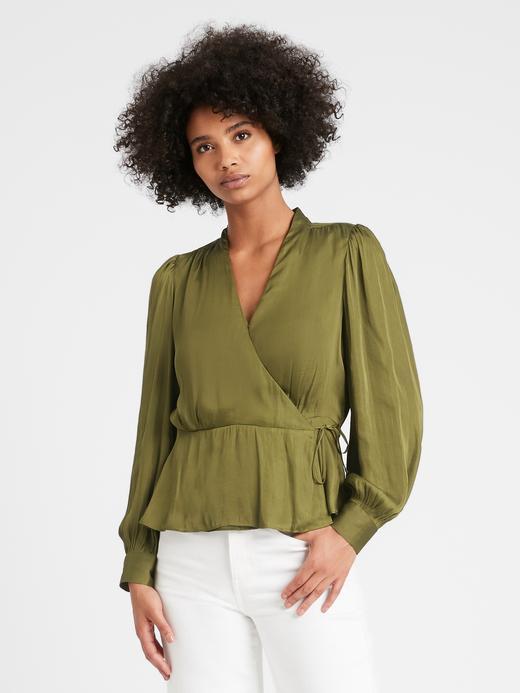Kadın Yeşil Saten Kruvaze Bluz