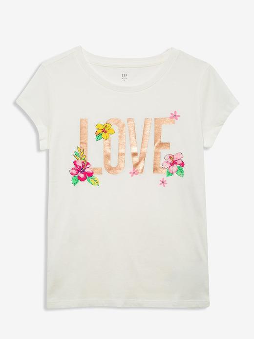 Kız Çocuk Beyaz Grafik Desenli Kısa Kollu T-Shirt