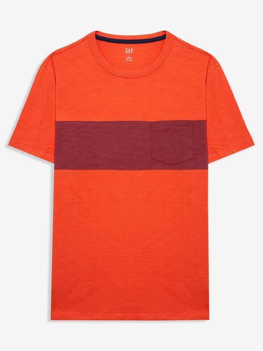 Erkek Turuncu Cepli Kısa Kollu T-shirt