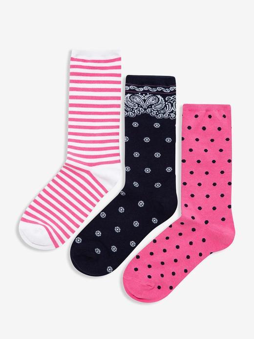 Kadın Pembe 3'lü Desenli Çorap Seti