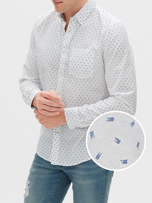 Erkek Beyaz Untucked Fit Poplin Gömlek