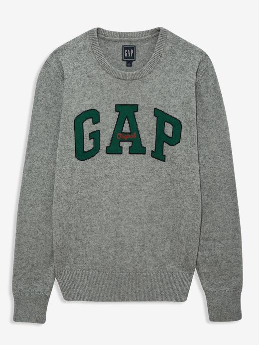 Erkek Gri Gap Logo Yuvarlak Yaka Kazak