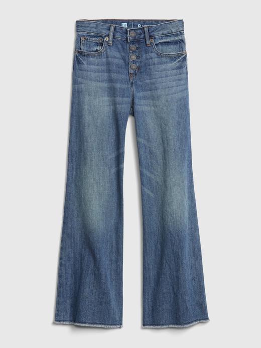 Kız Çocuk Mavi High Rise Wide-Leg Jean Pantolon