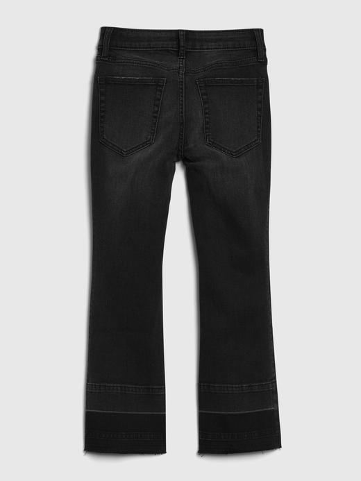 Kız Çocuk Siyah High-Rise Flare Cropped Jean Pantolon