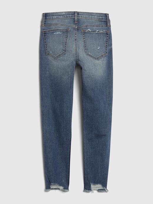 Kız Çocuk Mavi High Rise Slim Ankle Jean Pantolon