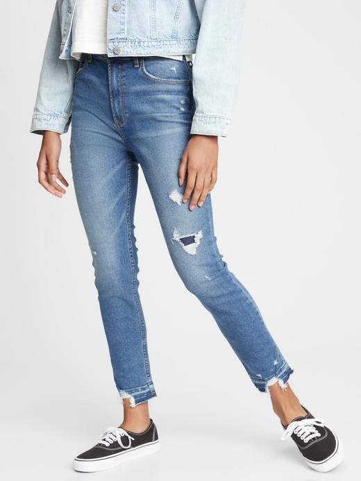 Kız Çocuk Mavi Destructed Sky High Rise Skinny Ankle Jean Pantolon