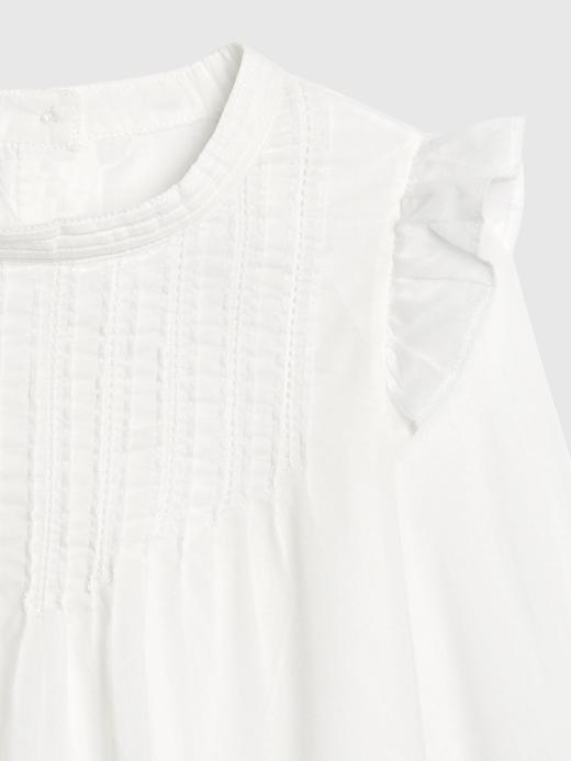Kız Bebek Beyaz Fırfır Detaylı Bluz