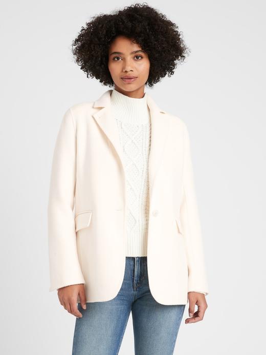 Kadın Beyaz Çift Taraflı Blazer Ceket