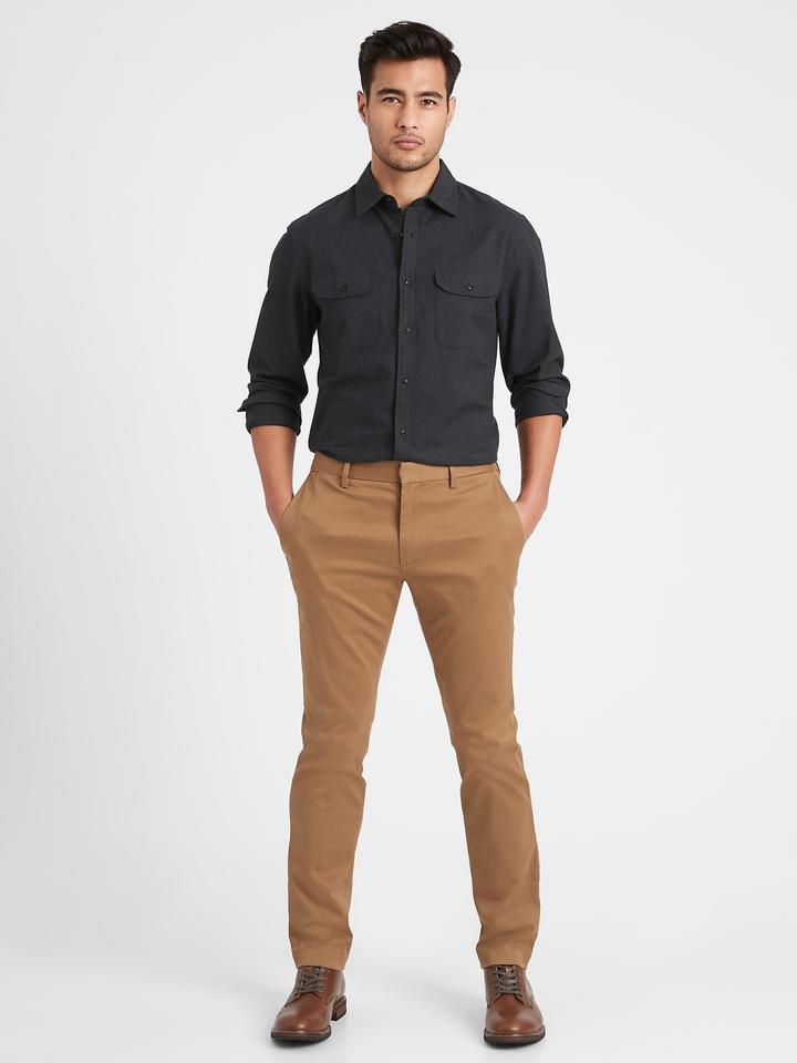 Erkek Gri Untucked Slim-Fit Flannel Gömlek