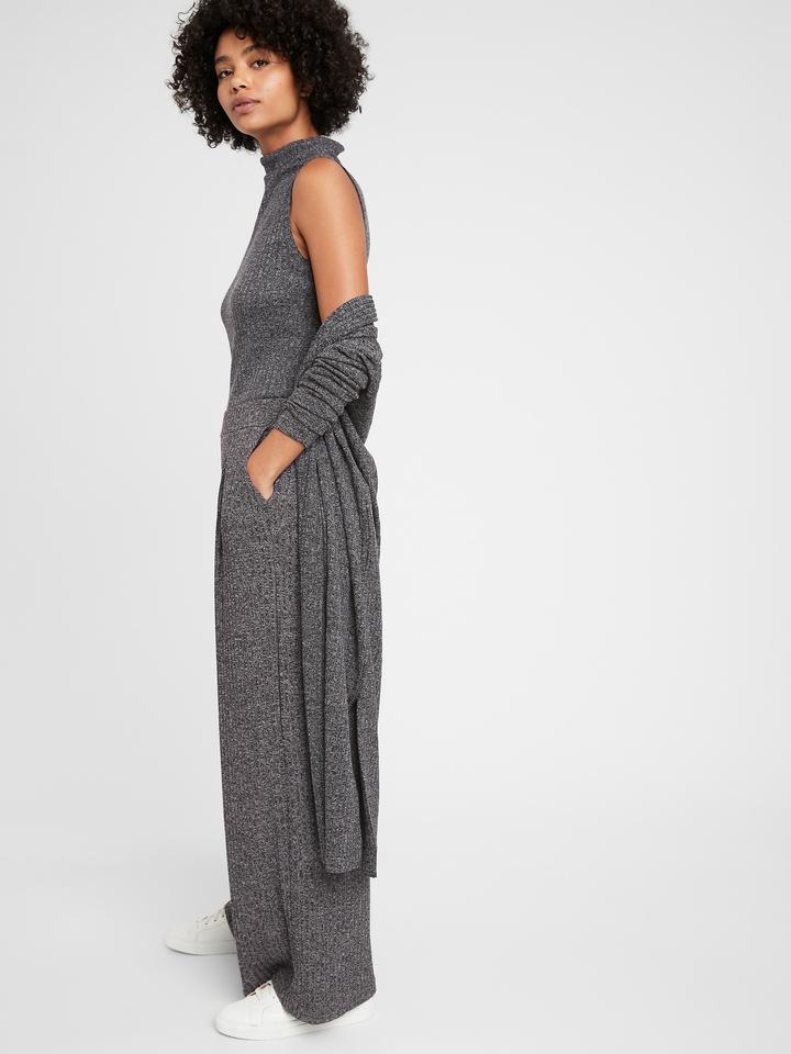 Kadın Gri Wide-Leg Triko Pantolon
