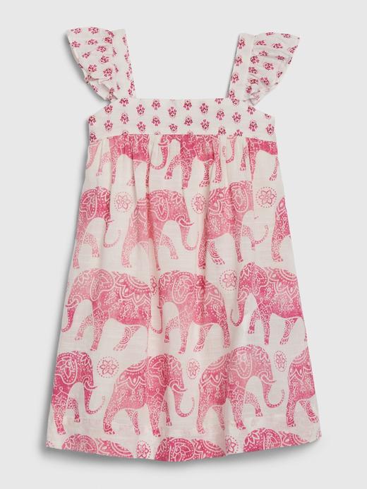 Kız Bebek Pembe Fil Desenli Elbise