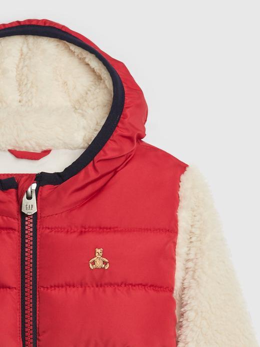 Erkek Bebek Kırmızı Sherpa Astarlı Pufa Mont