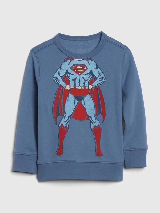 Erkek Bebek Mavi DC™ Grafik Düz Yaka Sweatshirt