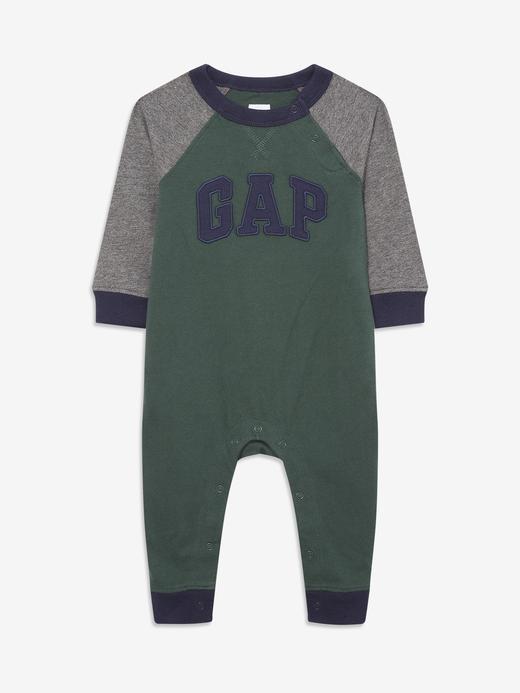 Erkek Bebek Yeşil Gap Logo Uzun Kollu Tulum