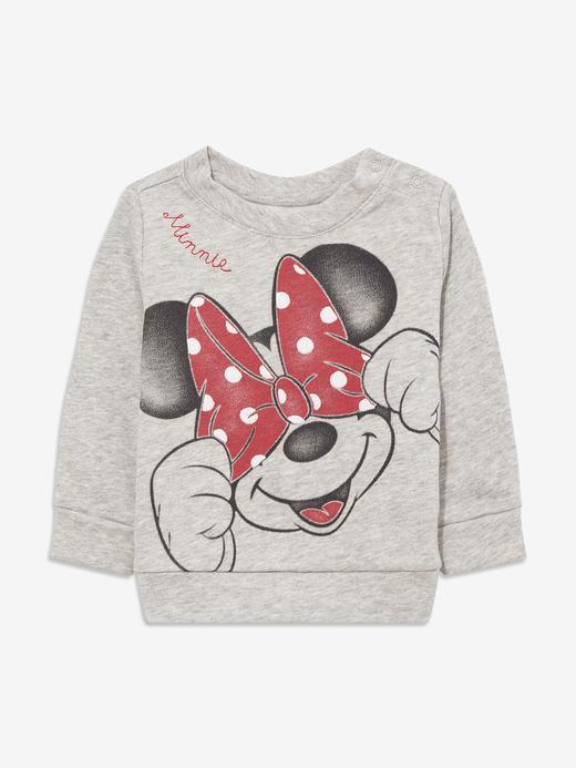 Kız Bebek Gri Disney Minie Mouse Yuvarlak Yaka Sweatshirt