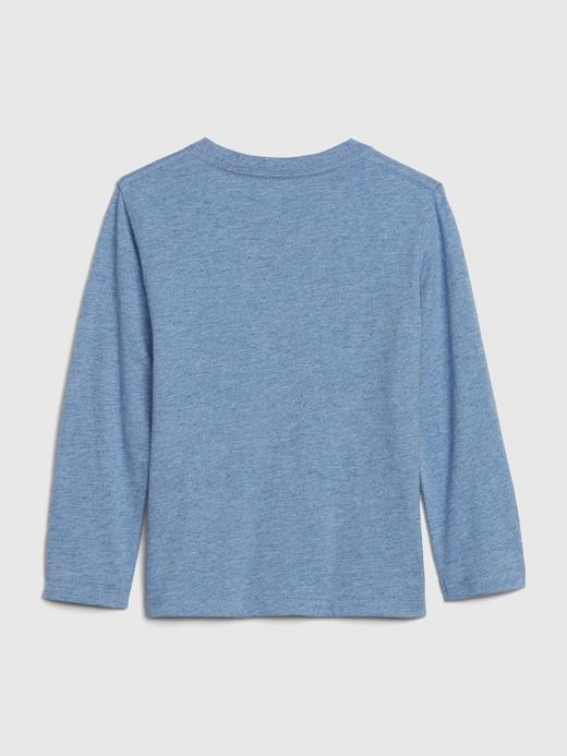 Erkek Bebek Mavi Gap Logo Uzun Kollu T-Shirt