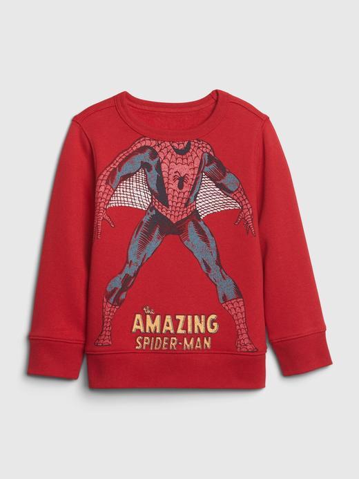Erkek Bebek Kırmızı Marvel Spider-Man Düz Yaka Sweatshirt