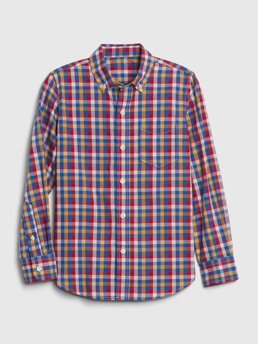 Erkek Çocuk Kırmızı Ekose Uzun Kollu Gömlek
