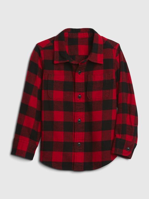 Erkek Bebek Kırmızı Uzun Kollu Ekose Gömlek