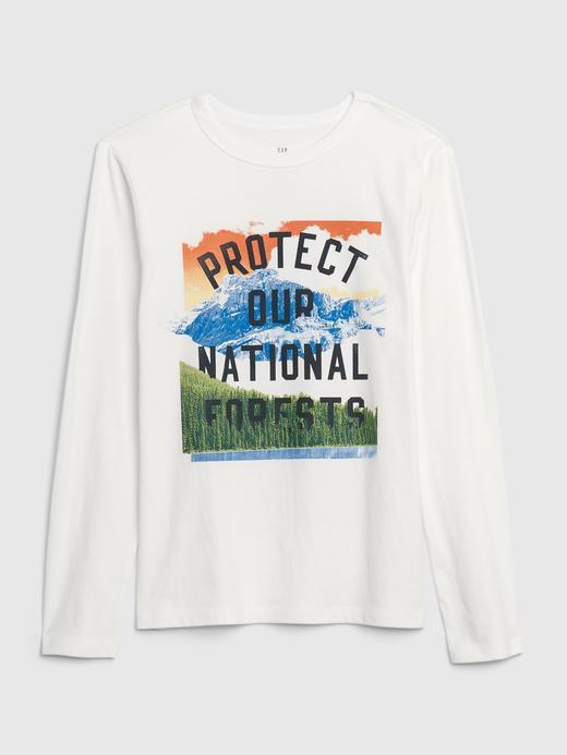 Erkek Çocuk Beyaz Grafik Uzun Kollu T-Shirt