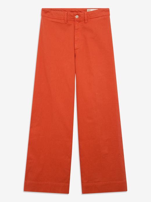 Kadın turuncu High Rise Wide-Leg Pantolon