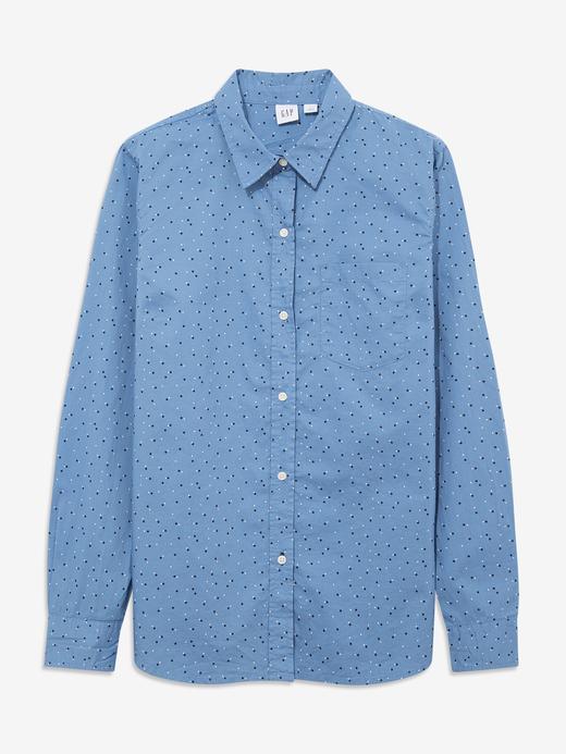 Kadın Mavi Desenli Poplin Gömlek
