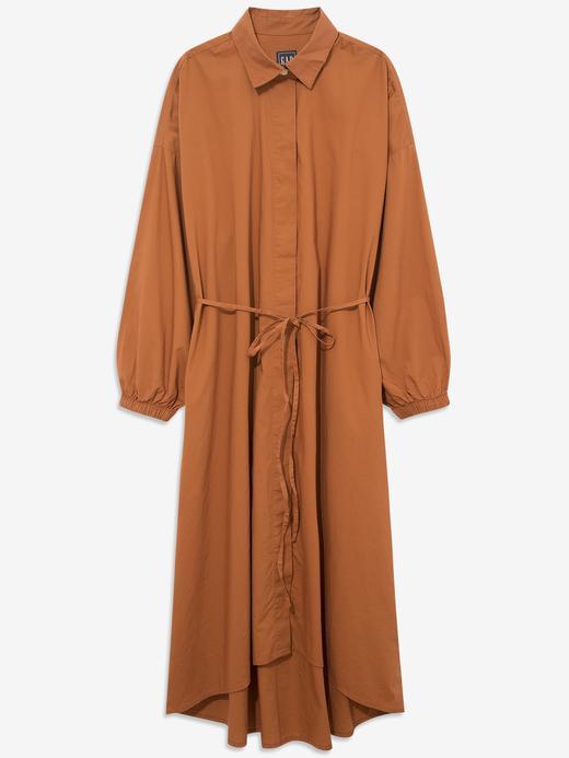 Kadın Turuncu Uzun Kollu Midi Elbise