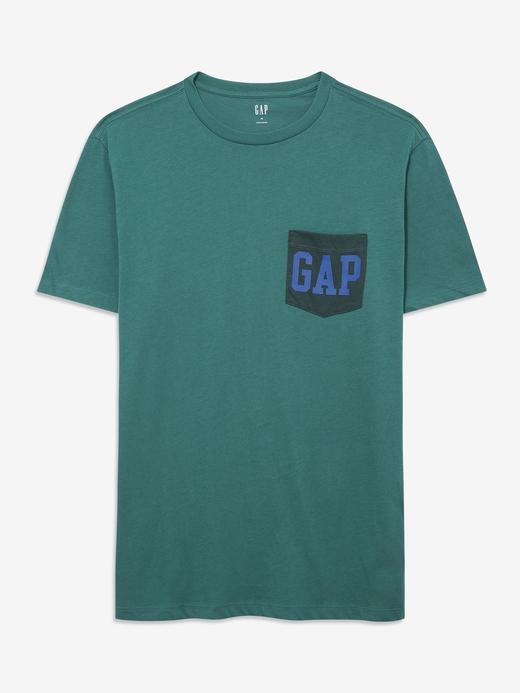 Erkek Yeşil Gap Logo Cepli T-Shirt