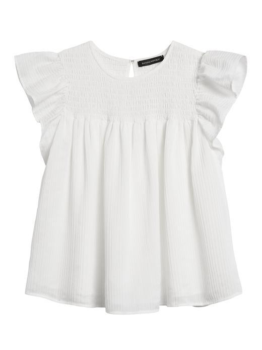 Kadın Beyaz Kolları Fırfırlı Bluz