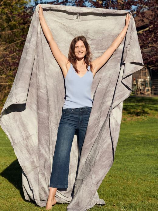 Kadın Mavi High-Rise Wide-Leg Cropped Jean Pantolon