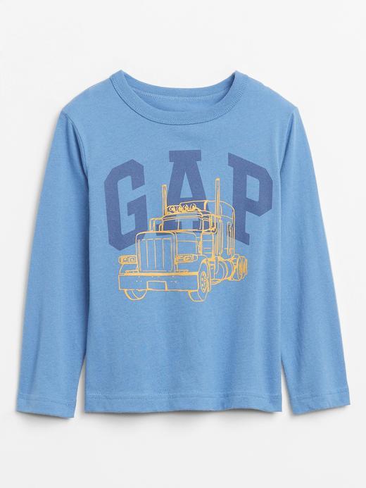 Erkek Bebek Mavi Grafik Uzun Kollu T-Shirt