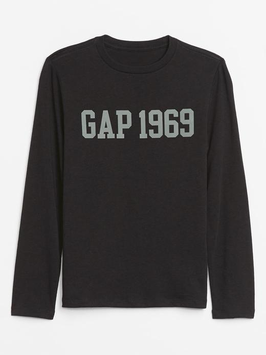Erkek Çocuk Siyah Gap Logo Uzun Kollu T-Shirt
