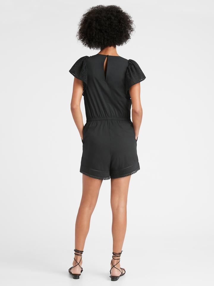 Kadın Siyah Kısa Kollu Tulum