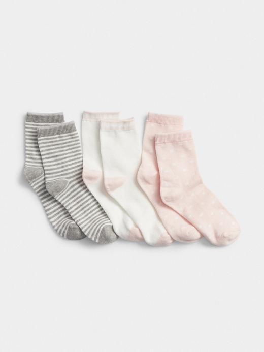 Kız Çocuk Pembe 3'lü Desenli Çorap Seti