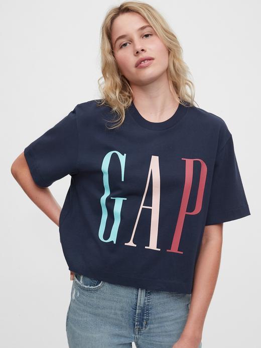 Kadın Mavi Gap Logo Cropped T-Shirt